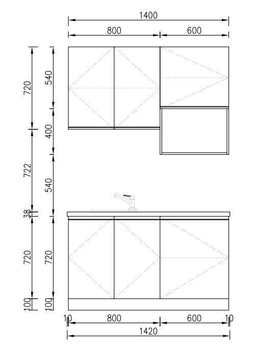 KP RTA (RTG) Gabinete de cocina para proyectos Proyecto de gabinete - 17