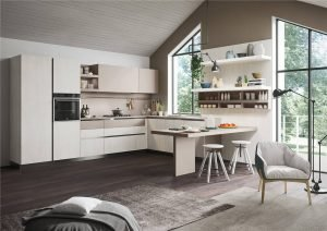 White Woodmark Flat-Front Custom Kitchen Cabinet Mixing Door Styles KP-KC-0001 Cabinet Project - 5