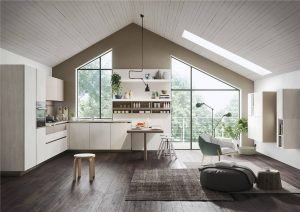 White Woodmark Flat-Front Custom Kitchen Cabinet Mixing Door Styles KP-KC-0001 Cabinet Project - 6