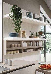 White Woodmark Flat-Front Custom Kitchen Cabinet Mixing Door Styles KP-KC-0001 Cabinet Project - 7
